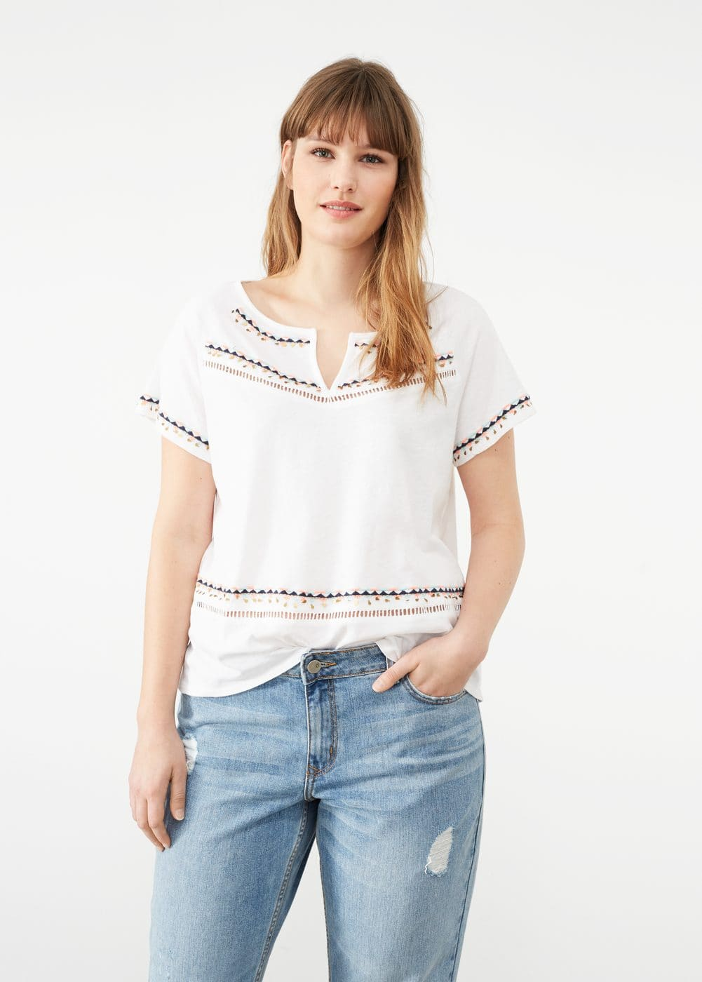 Beaded embroidery t-shirt | VIOLETA BY MANGO