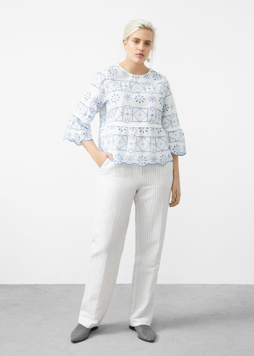 Embroidered cotton blouse | MNG
