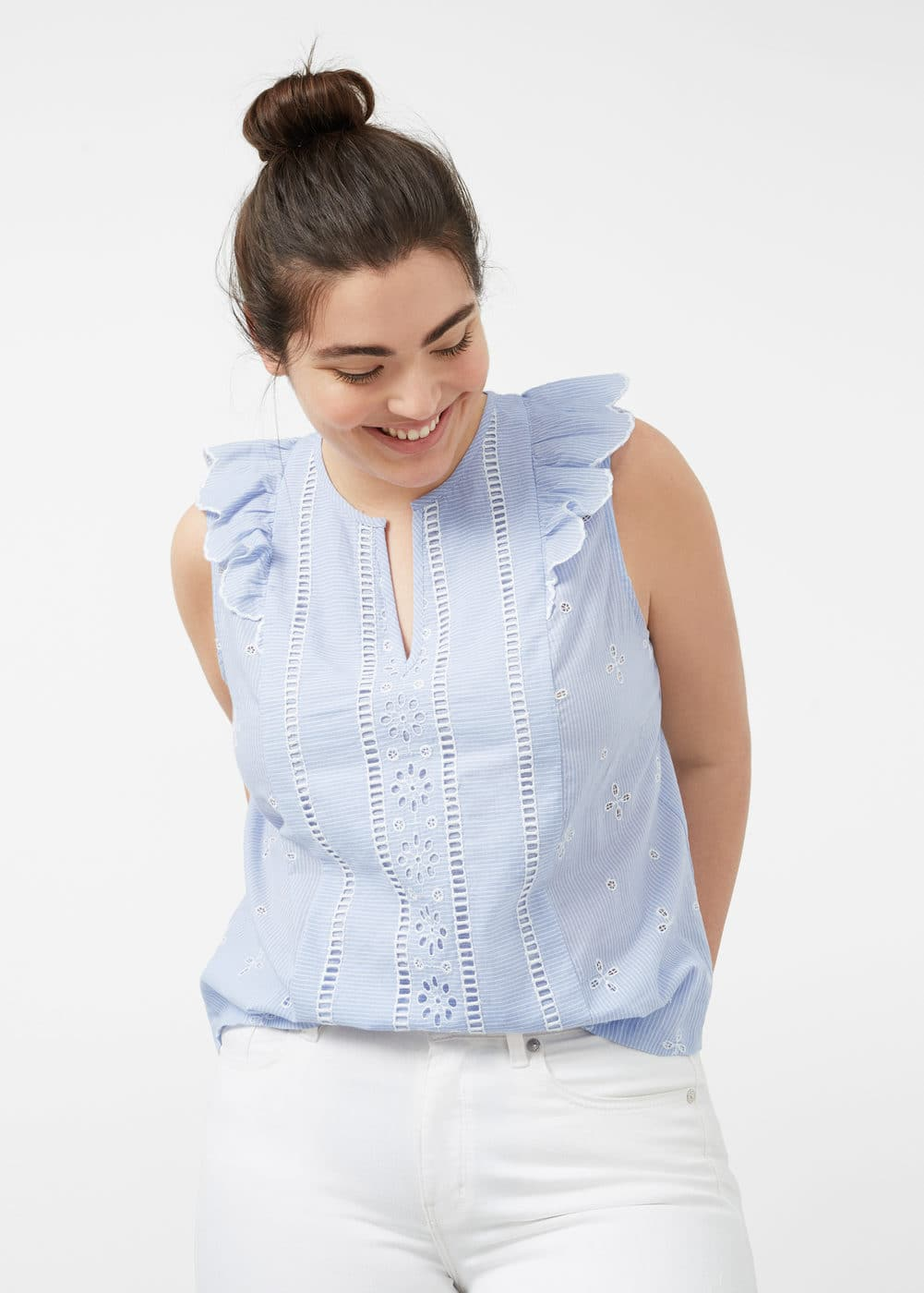 Ruffled stripe-patterned blouse | VIOLETA BY MANGO