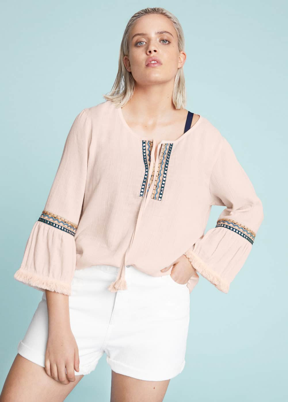 Embroidered boho blouse | VIOLETA BY MANGO