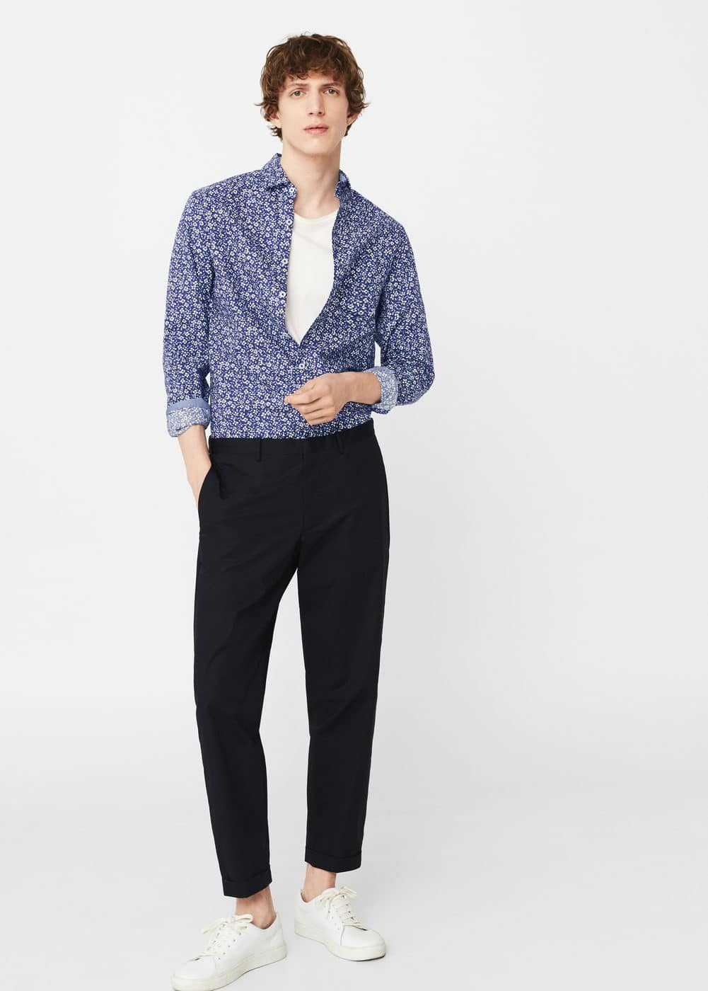 Slim-fit printed cotton shirt | MANGO