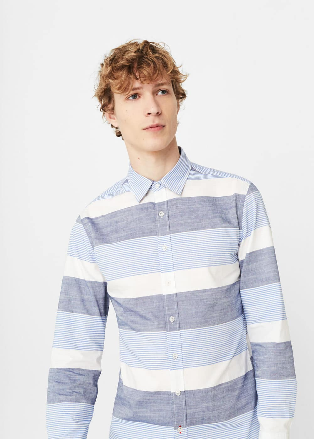 Slim-fit striped cotton shirt | MANGO MAN