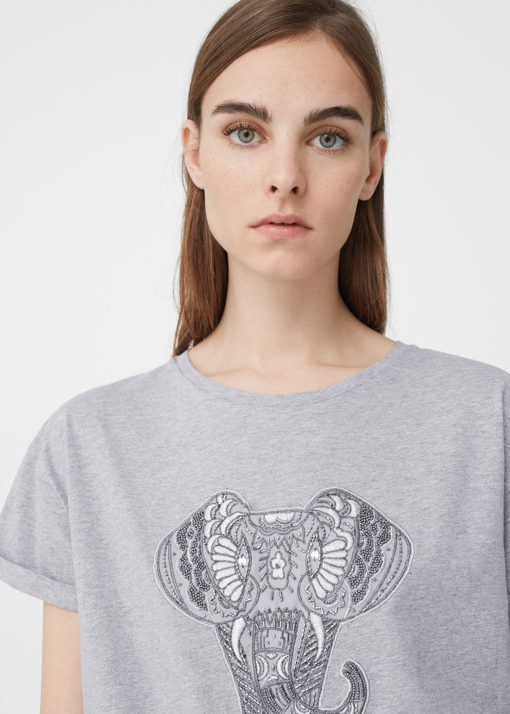 Beaded cotton t-shirt | MNG