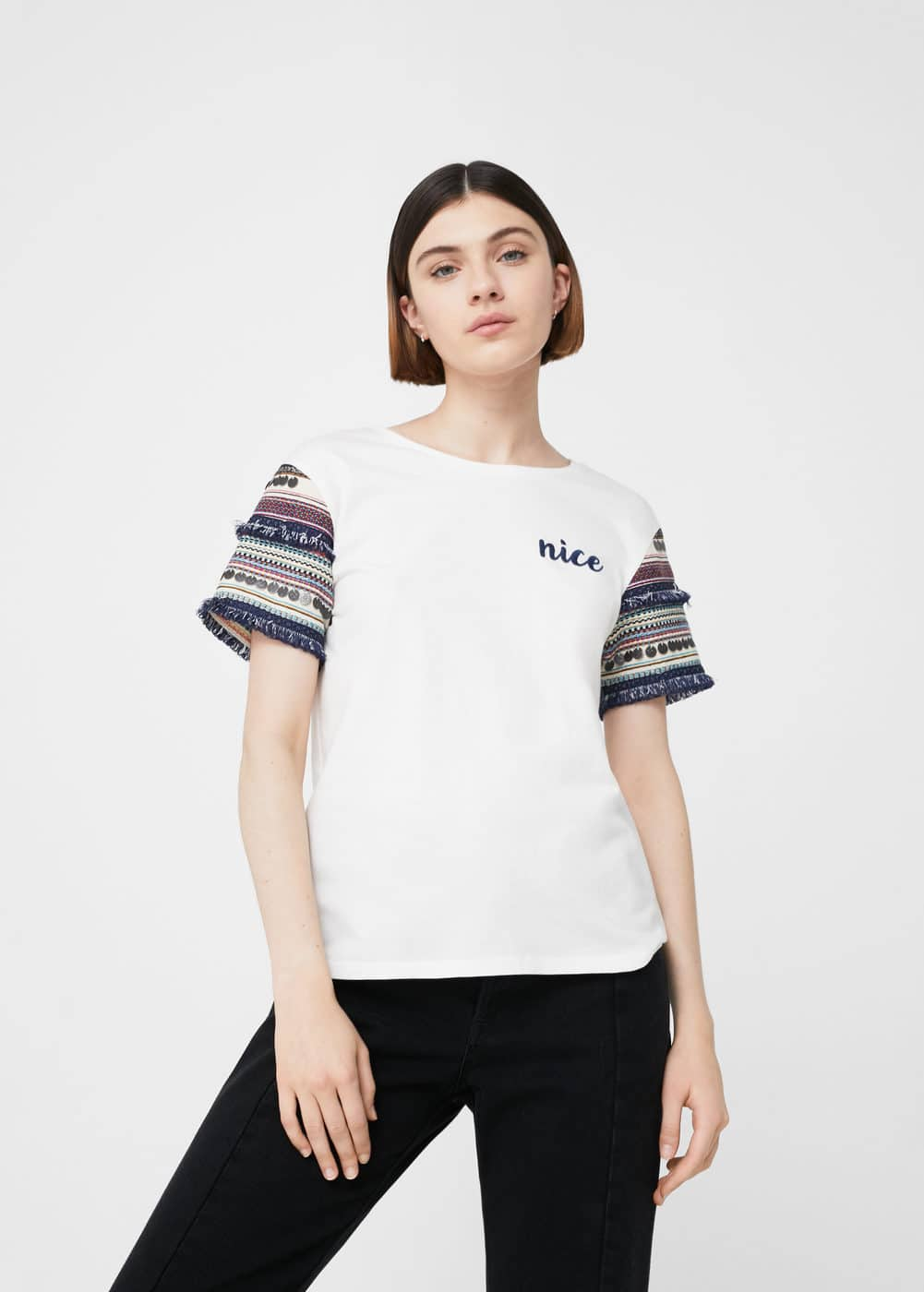 Embroidered sleeve t-shirt | MANGO