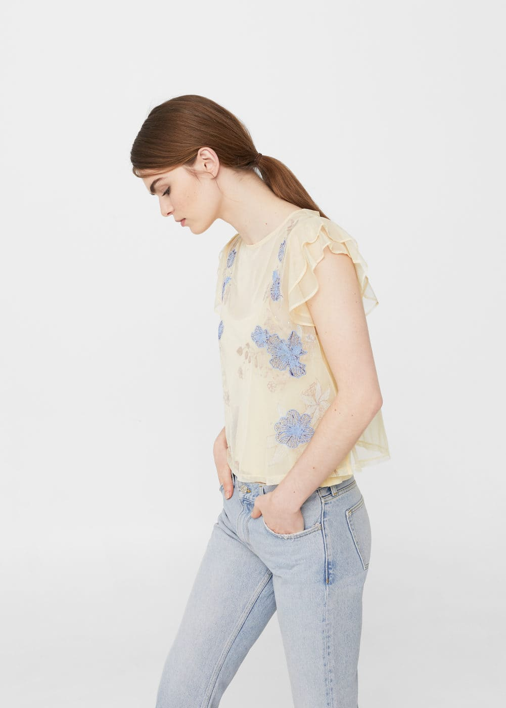 Embroidered tulle t-shirt | MANGO