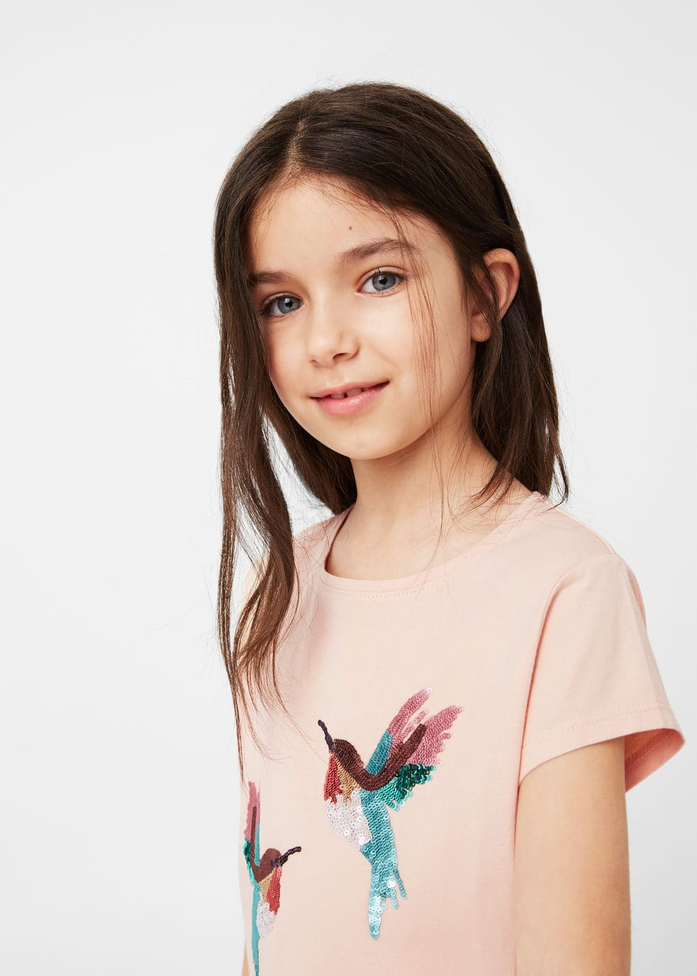 Sequined cotton t-shirt | MANGO KIDS