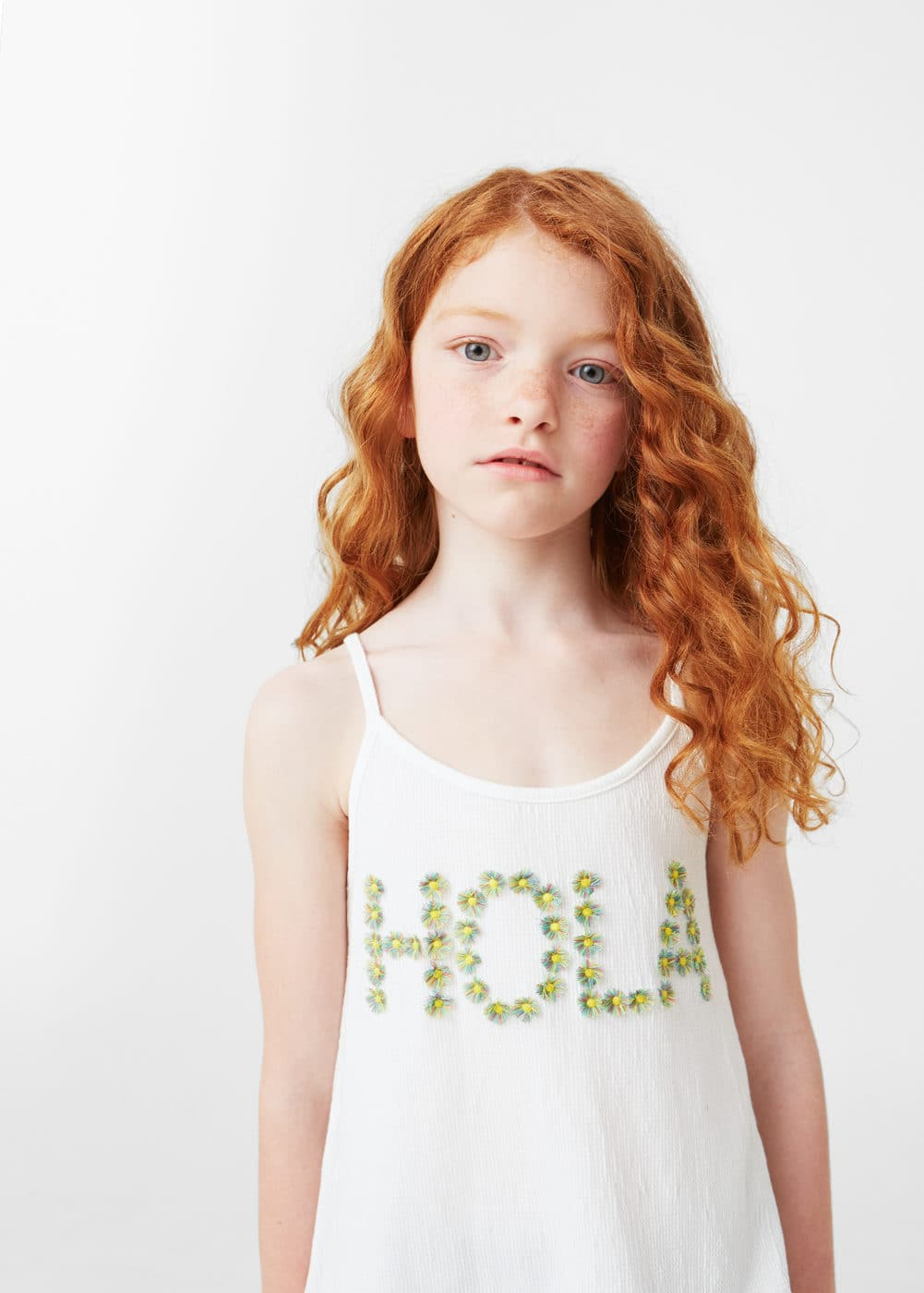 Embroidered message t-shirt | MANGO KIDS