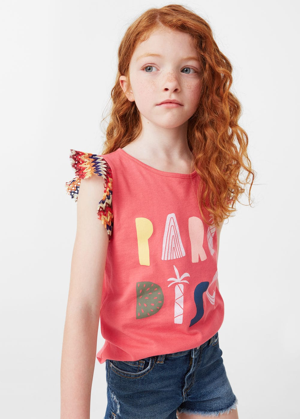 Contrasting cotton-blend t-shirt | MANGO KIDS