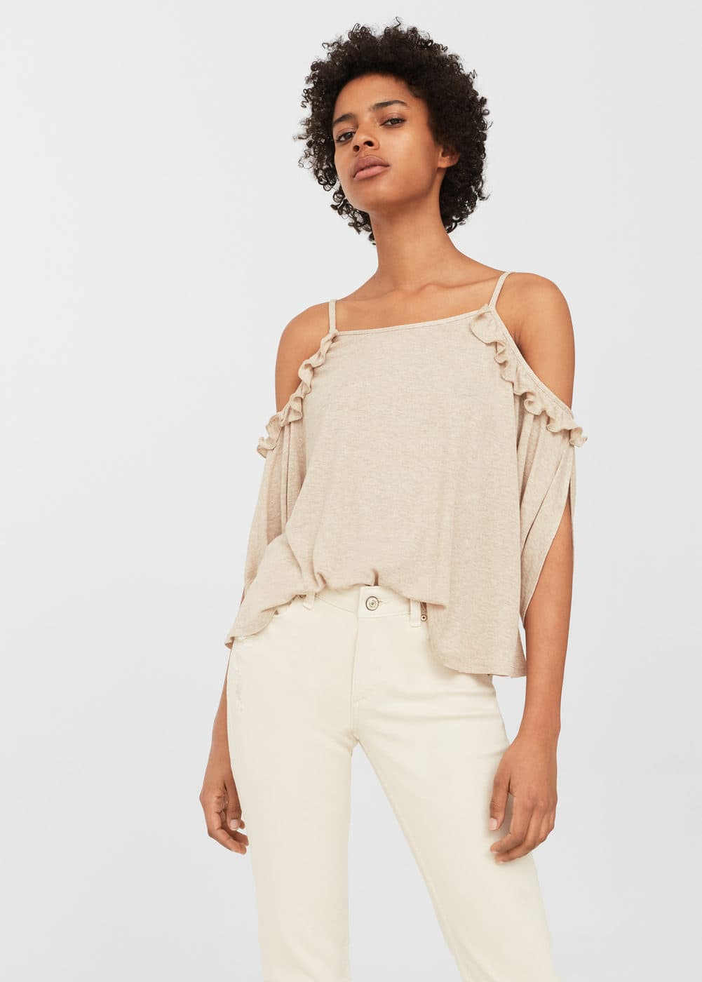 Ruffled off-shoulder top | MANGO