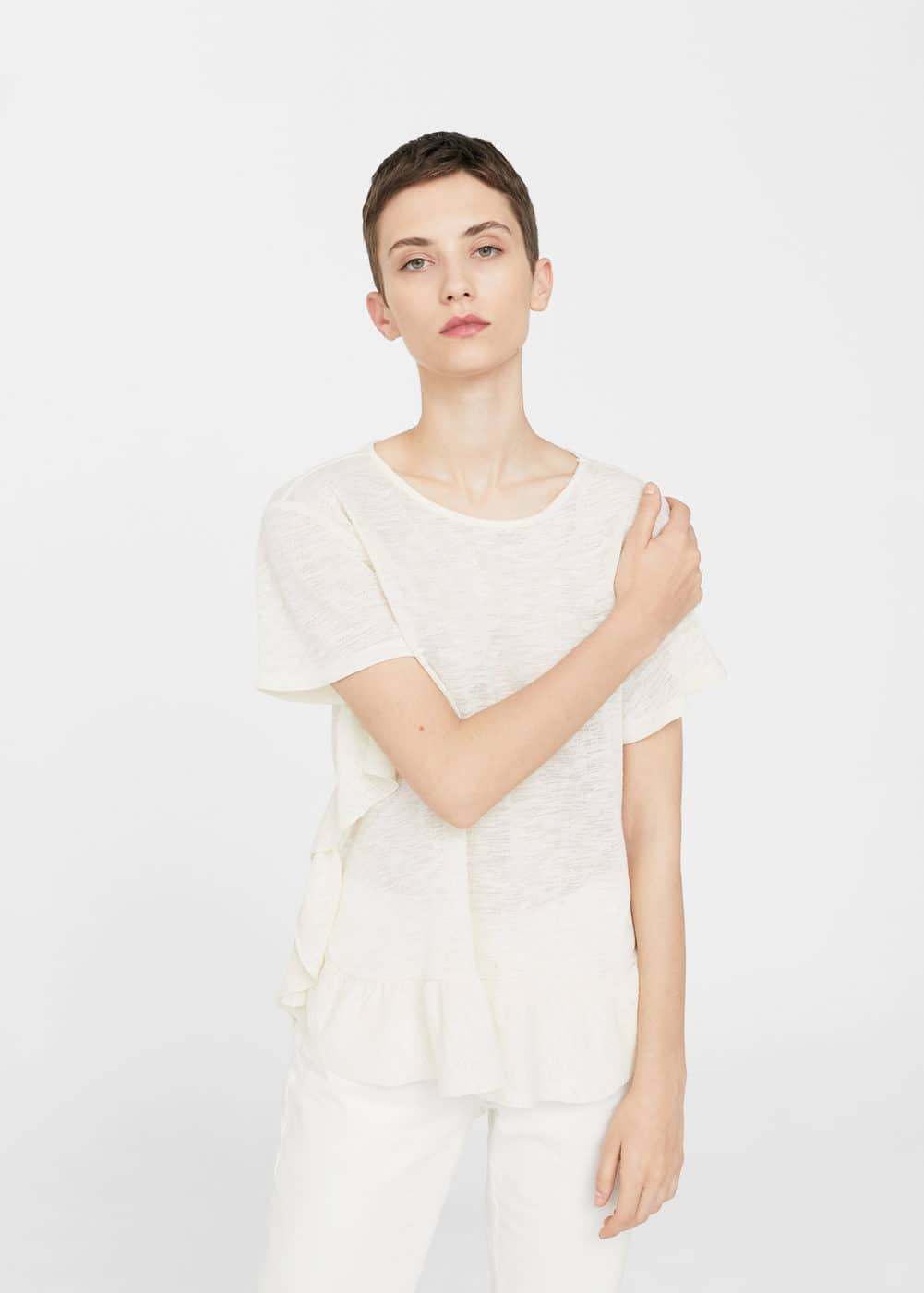 Ruffled detail t-shirt | MANGO