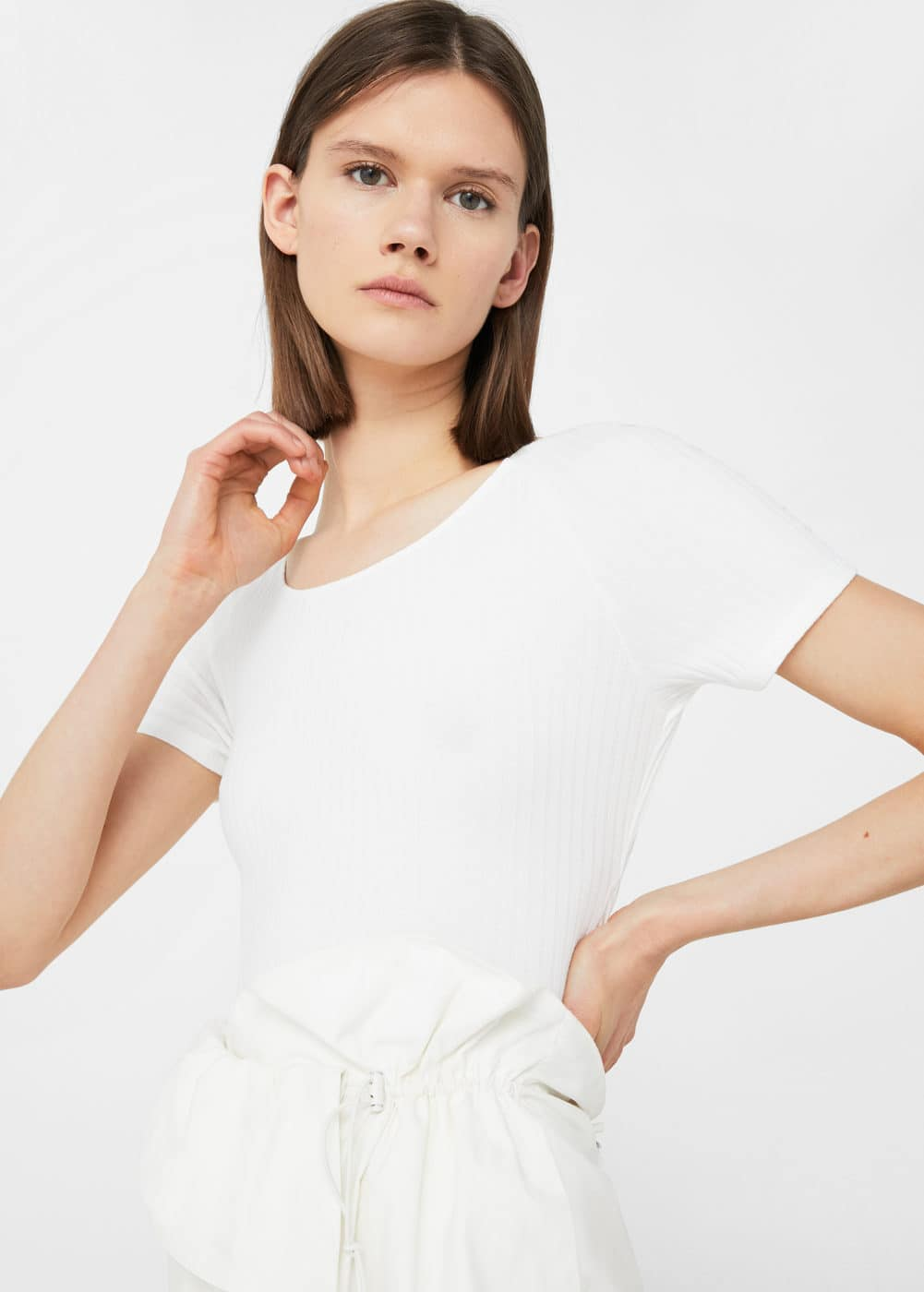 Bow textured t-shirt | MANGO
