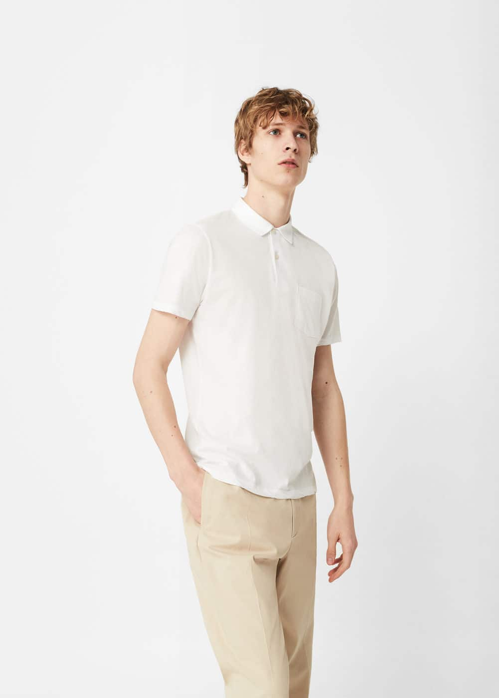 Chest-pocket cotton pocket polo shirt | MANGO