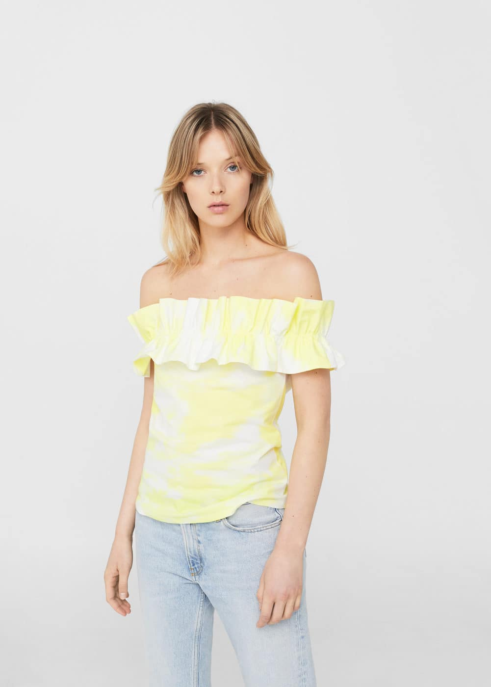 Ruffled tie-dye top | MANGO