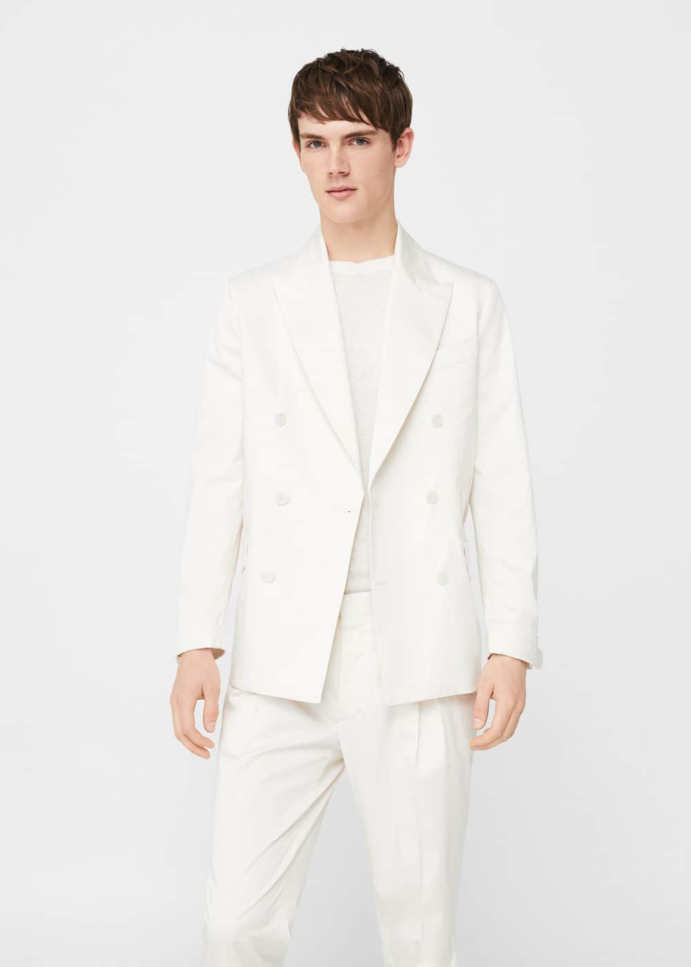 Unstructured regular-fit cotton suit blazer | MANGO