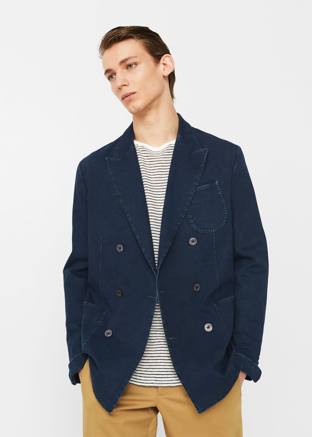 Regular fit-blazer aus baumwoll-chambray | MANGO MAN