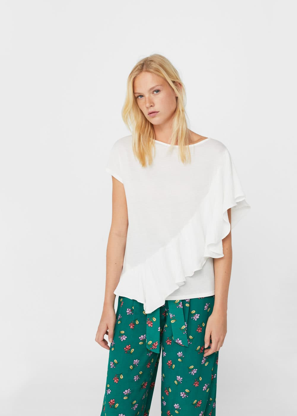 Contrasting frilled t-shirt | MANGO