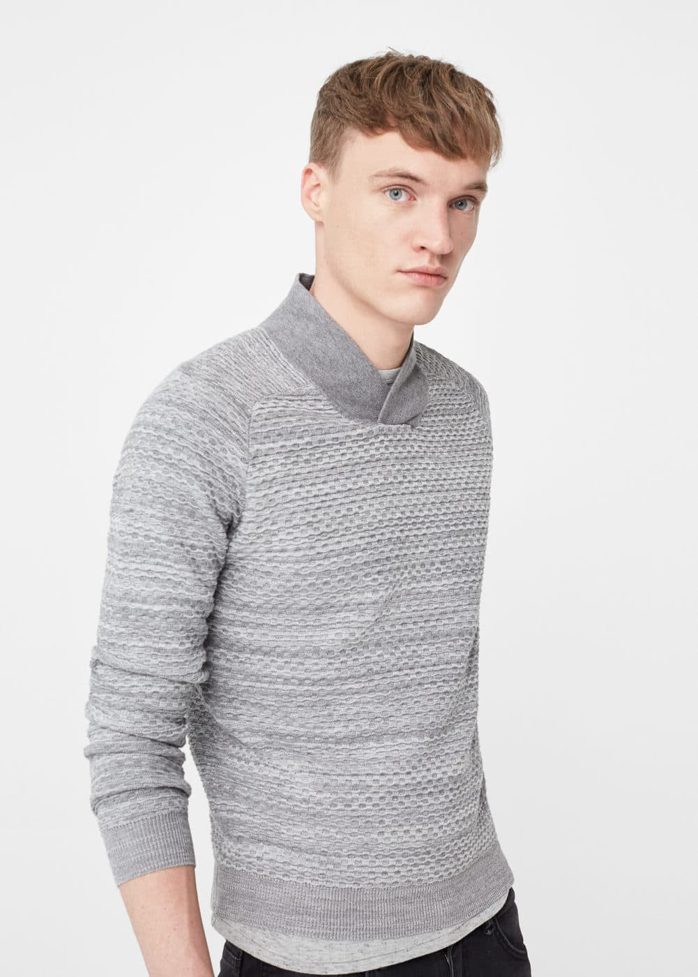 Shawl collar textured sweater | MANGO
