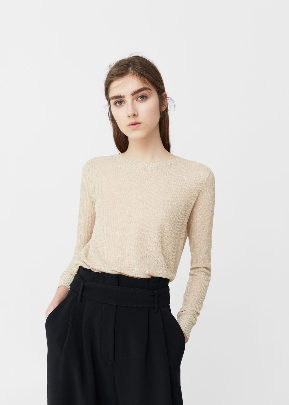 Metal thread sweater | MANGO