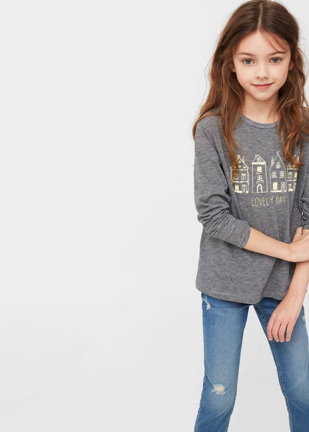 Printed striped t-shirt  | MANGO KIDS