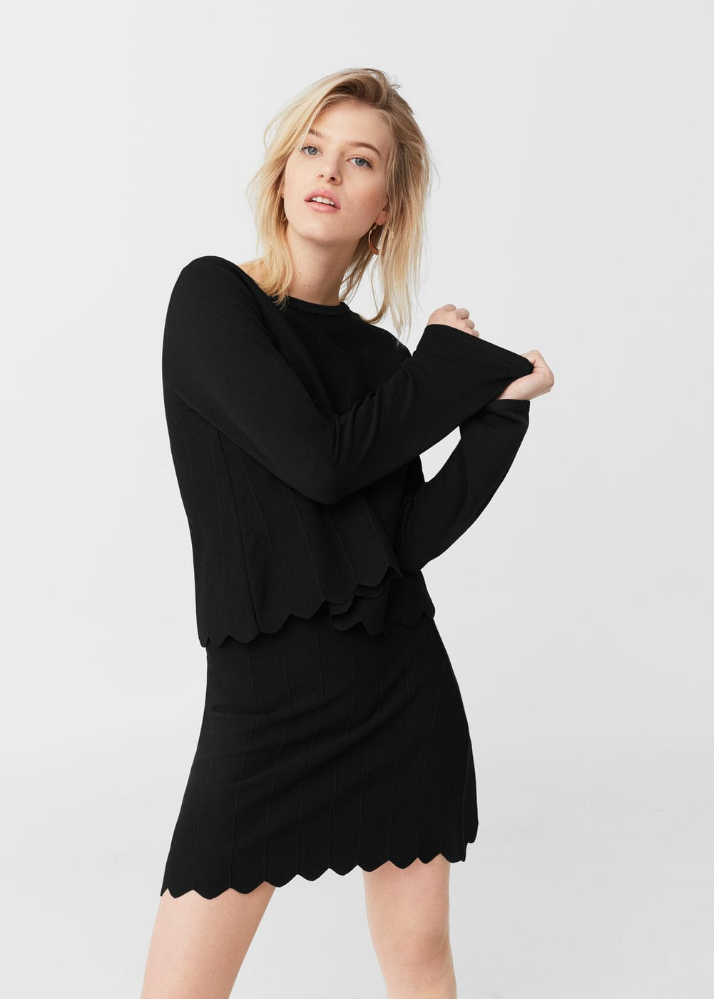 Scalloped hem sweater | MANGO