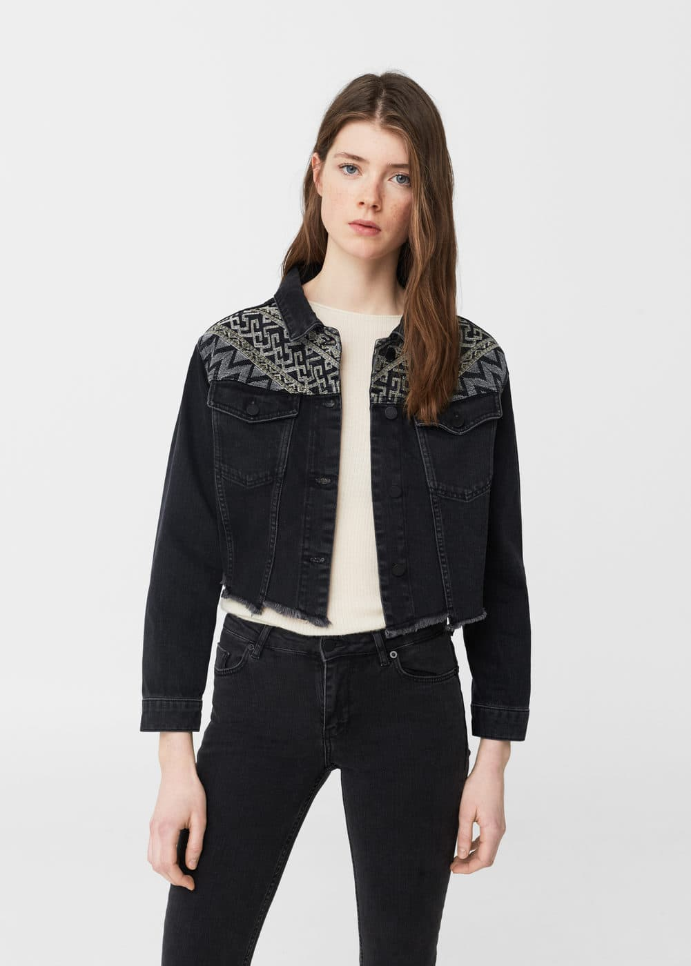 Embroidered panel denim jacket | MANGO