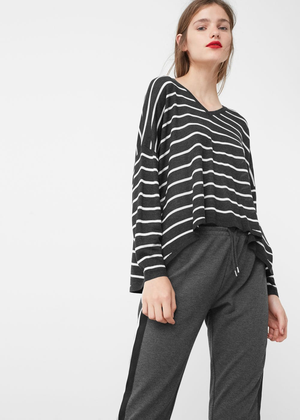 Fine-knit striped sweater | MANGO