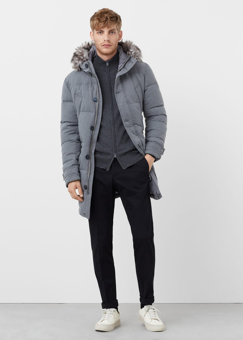Faux-fur feather down coat | MANGO MAN