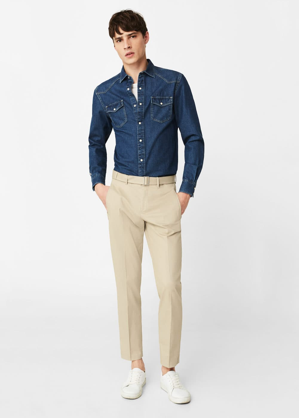 Belt cotton-blend trousers | MANGO MAN