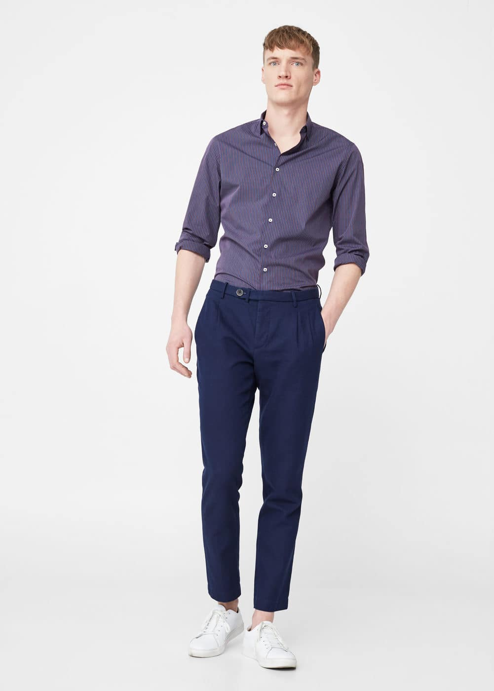 Cotton linen-blend chinos | MANGO