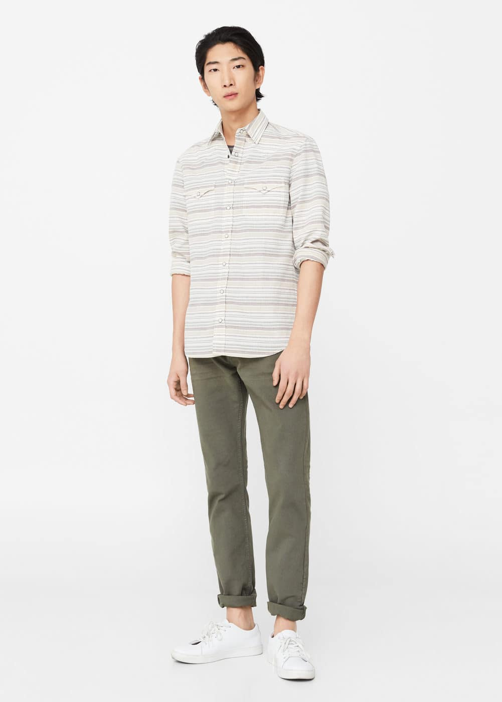 Slim-fit chest-pocket striped shirt | MANGO MAN
