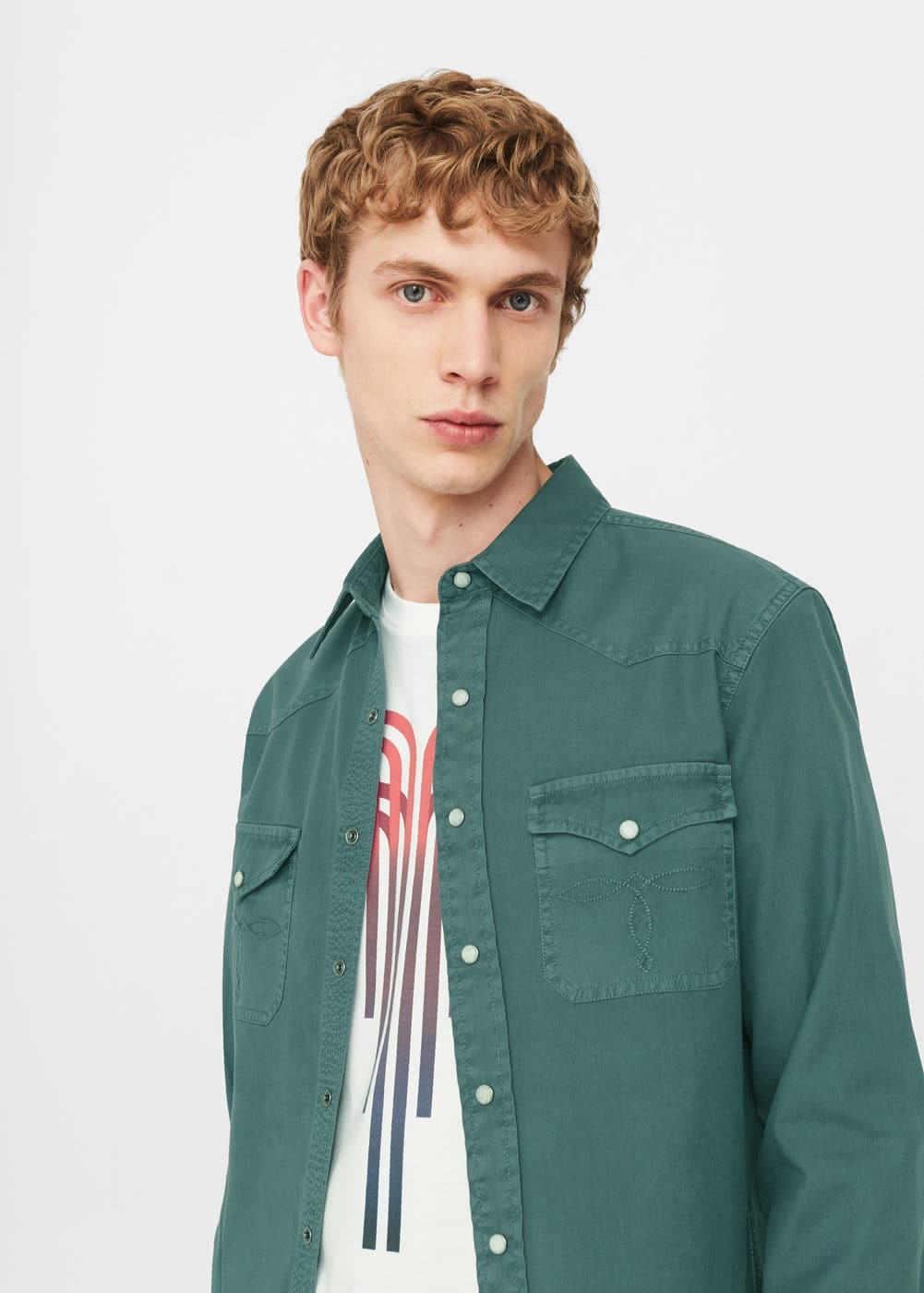 Chest-pocket cotton overshirt | MANGO