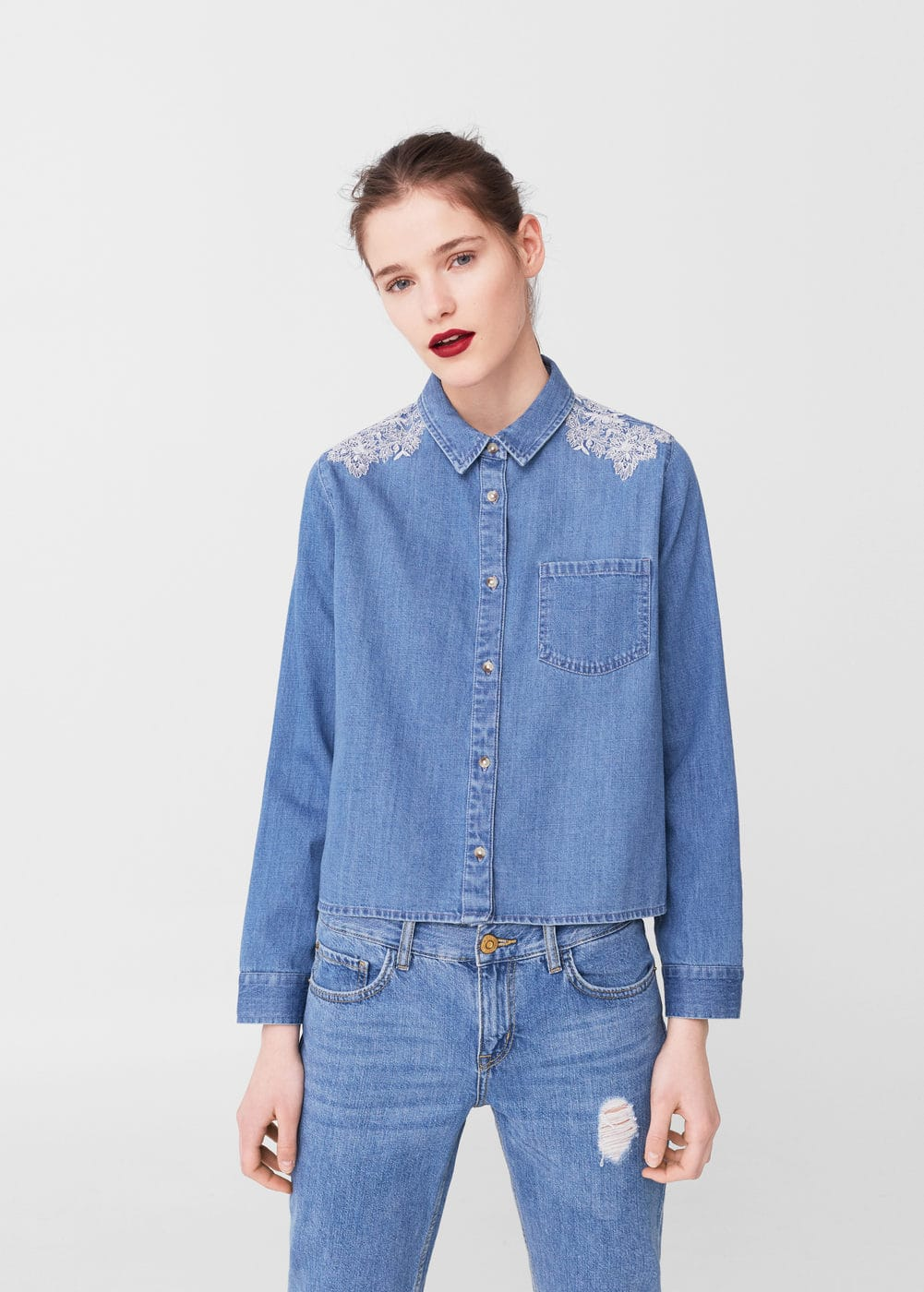 Embroidered denim shirt | MNG