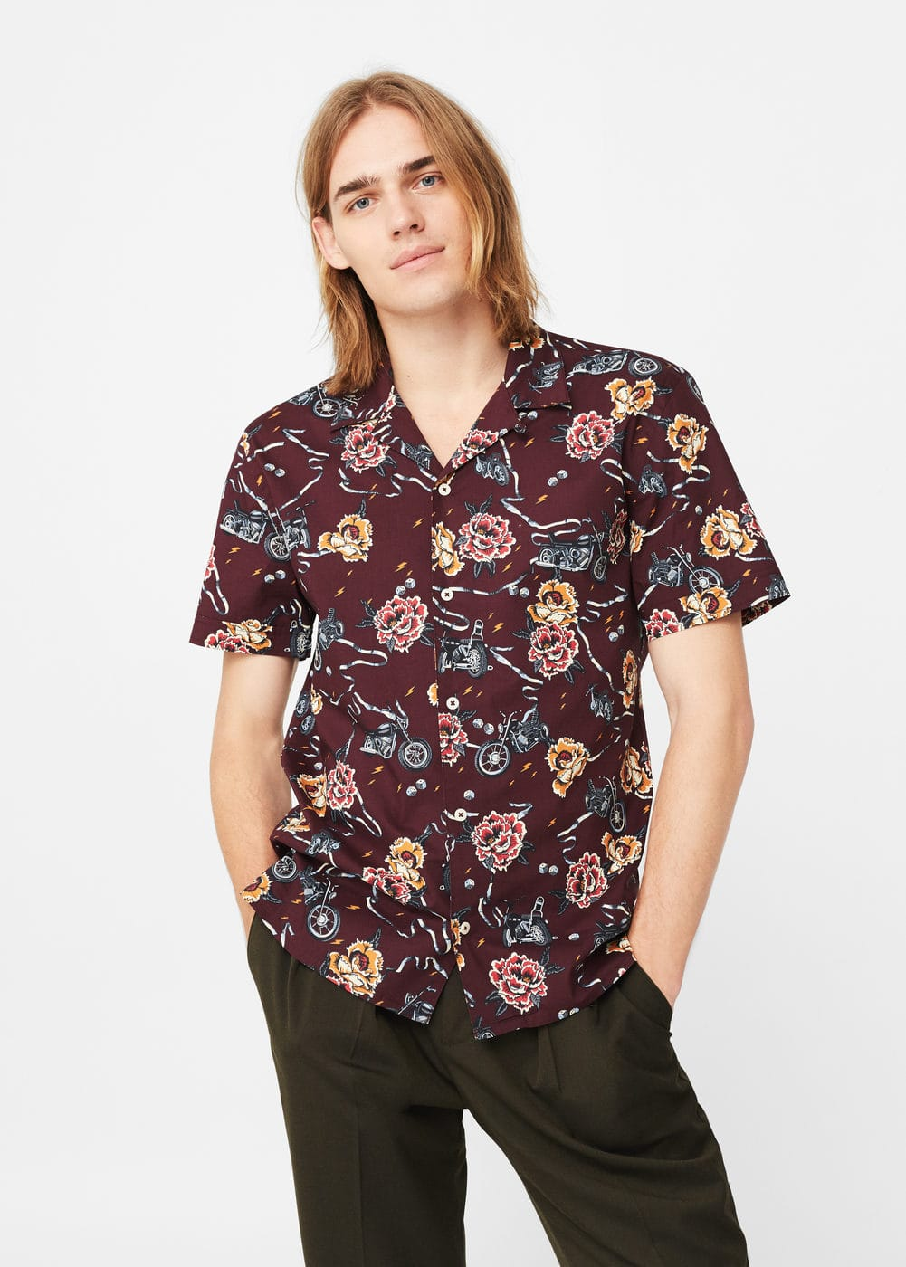 Camisa regular-fit cotó estampada | MANGO MAN