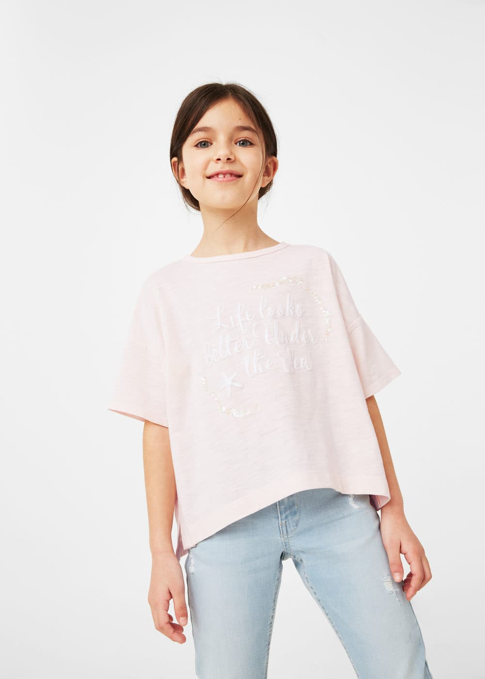 Sequined message t-shirt | MANGO KIDS