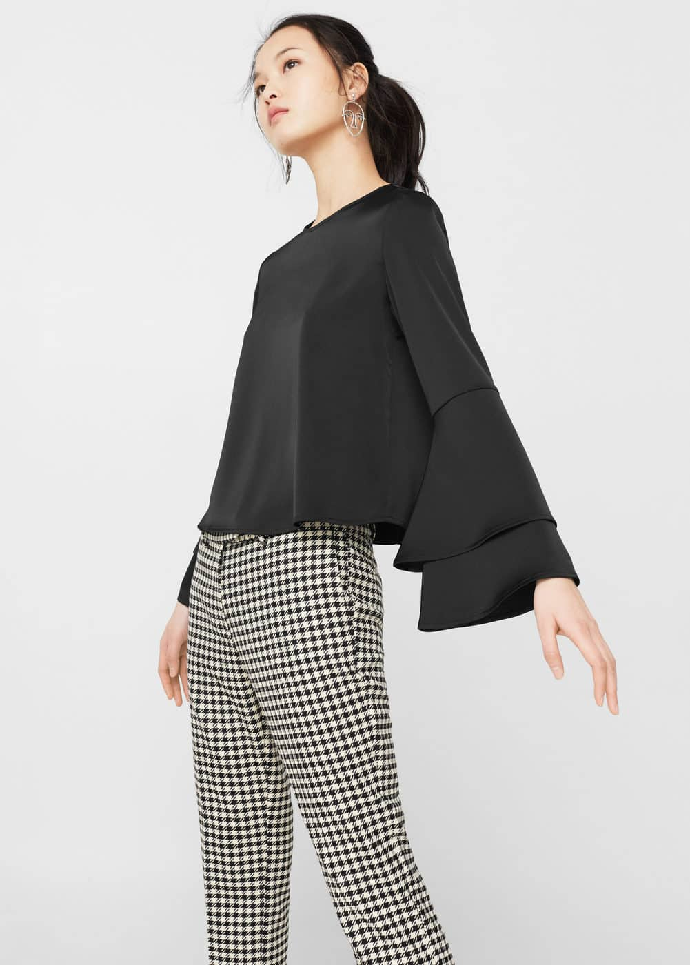 Mango Black Frill Sleeve Blouse