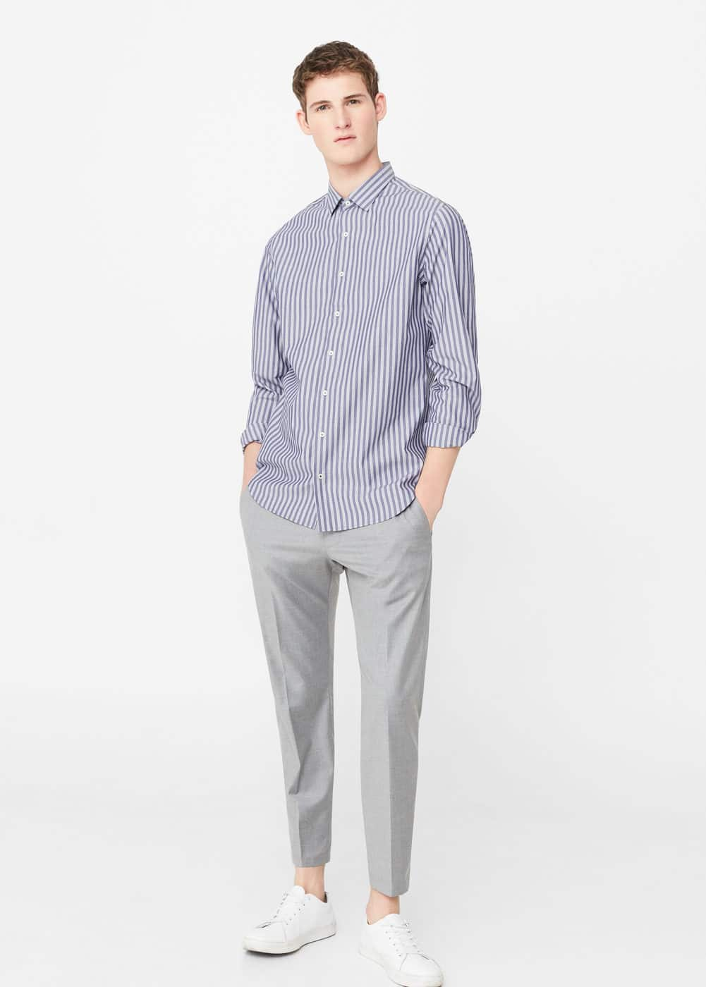 Striped slim-fit shirt | MANGO MAN