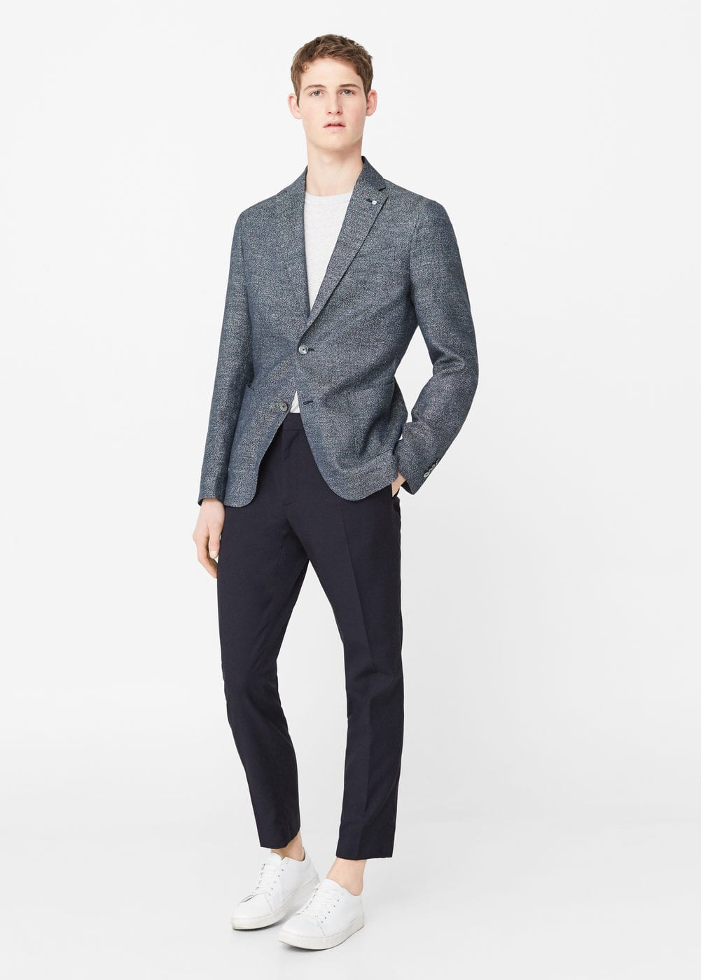 Slim-fit linen cotton-blend blazer | MANGO MAN