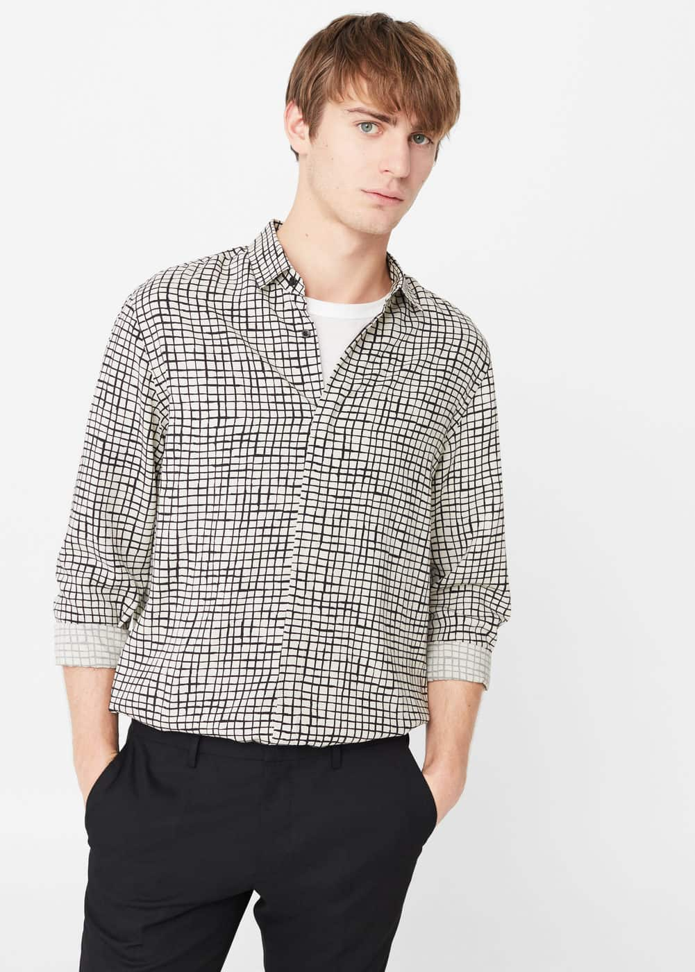 Camisa regular-fit estampado cuadros | MNG