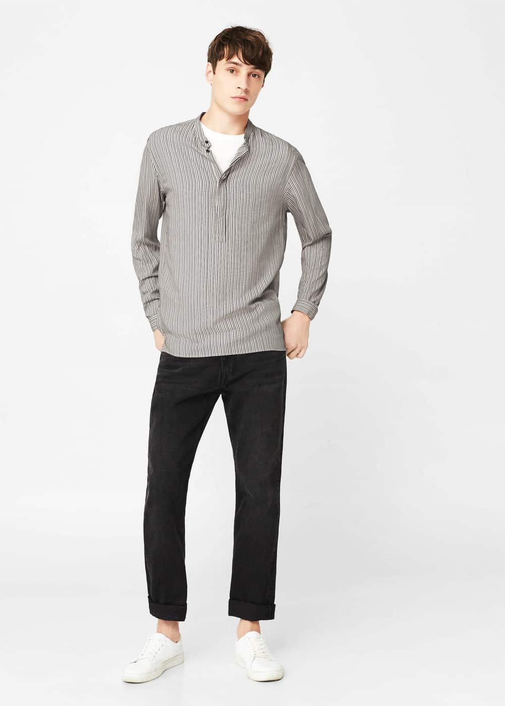 Regular-fit stripe textured shirt | MANGO