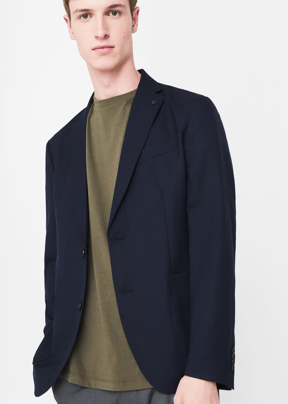Slim-fit wool-blend blazer | MANGO MAN