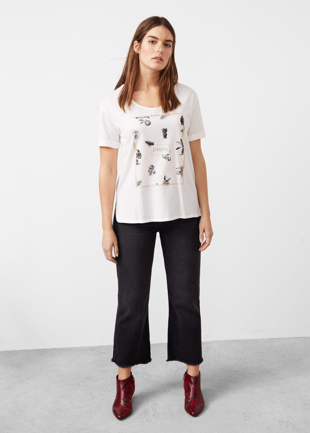 Printed metallic finish t-shirt | MANGO