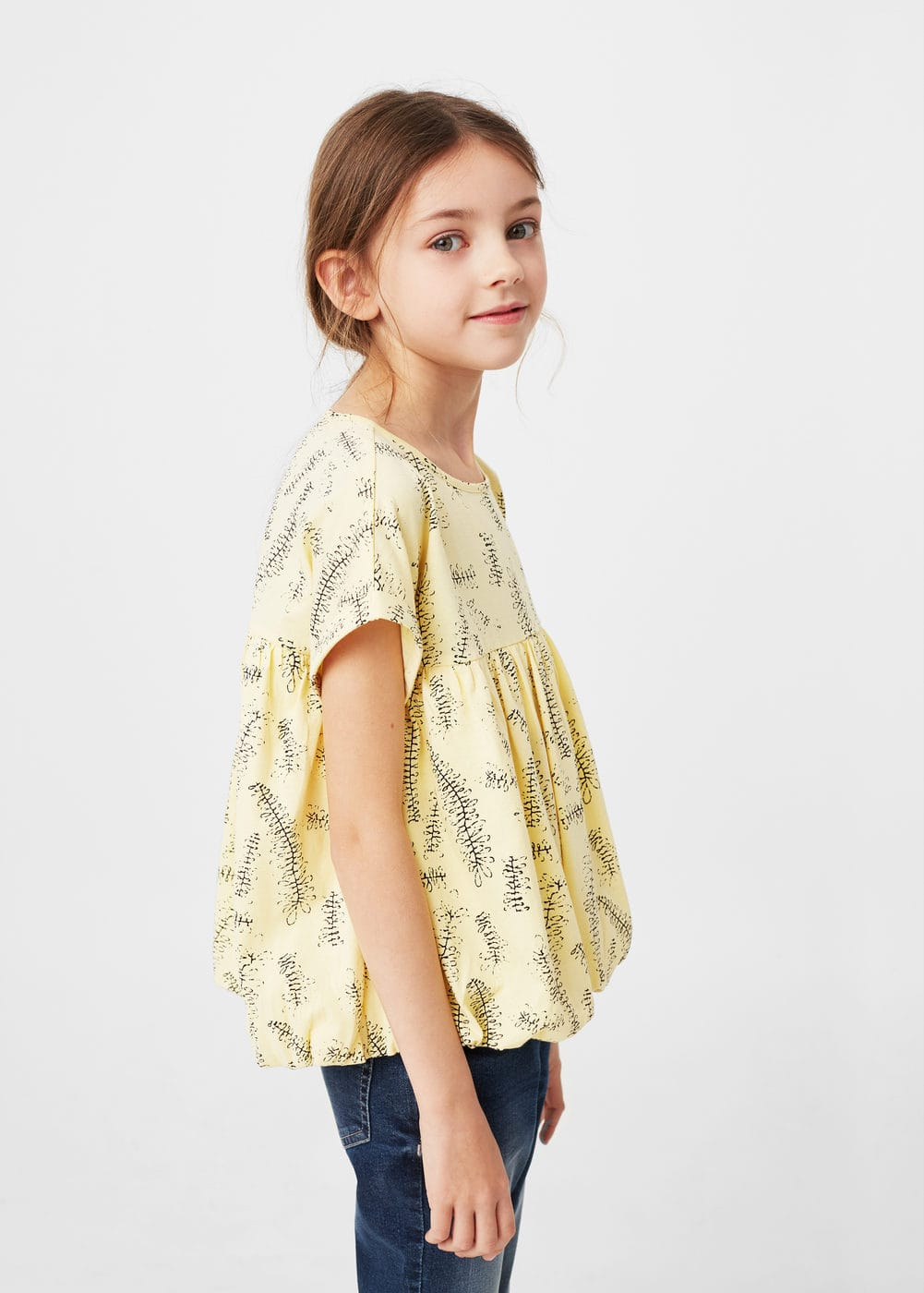 Printed ruched t-shirt | MANGO
