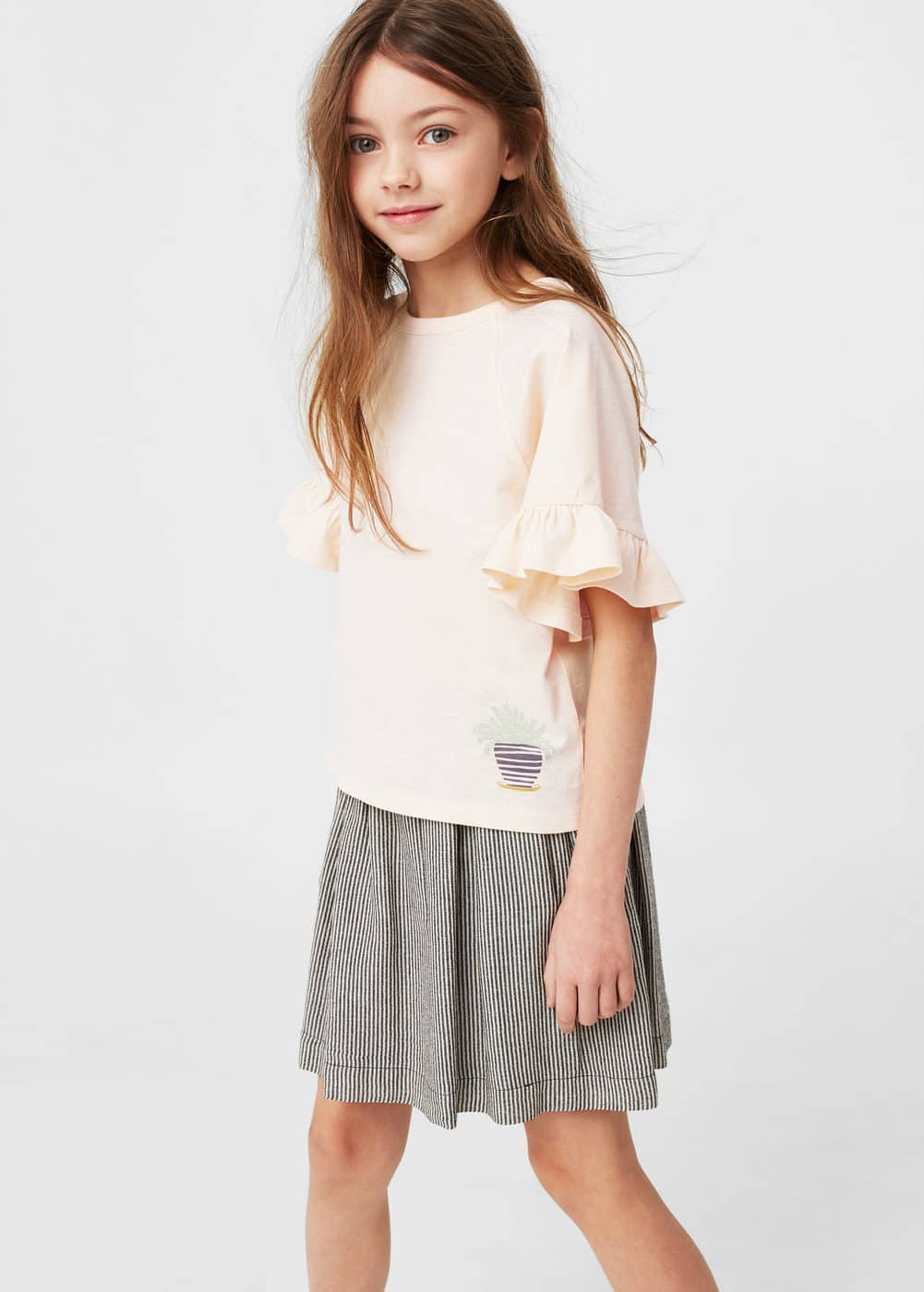 Ruffled sleeve t-shirt | MANGO KIDS