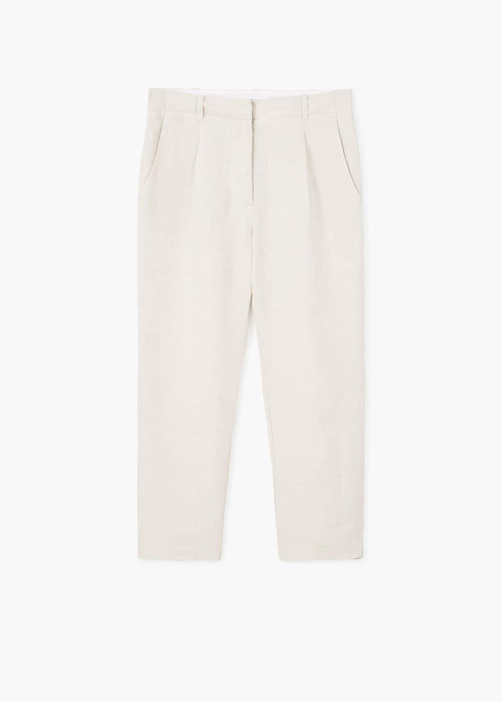 Cropped linen-blend trousers | MANGO