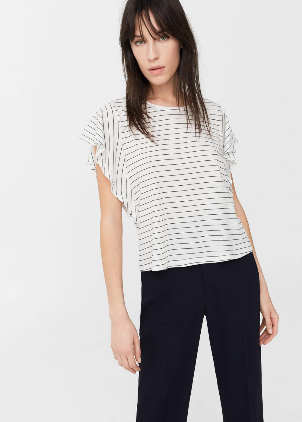 Ruffled sleeve t-shirt | MANGO