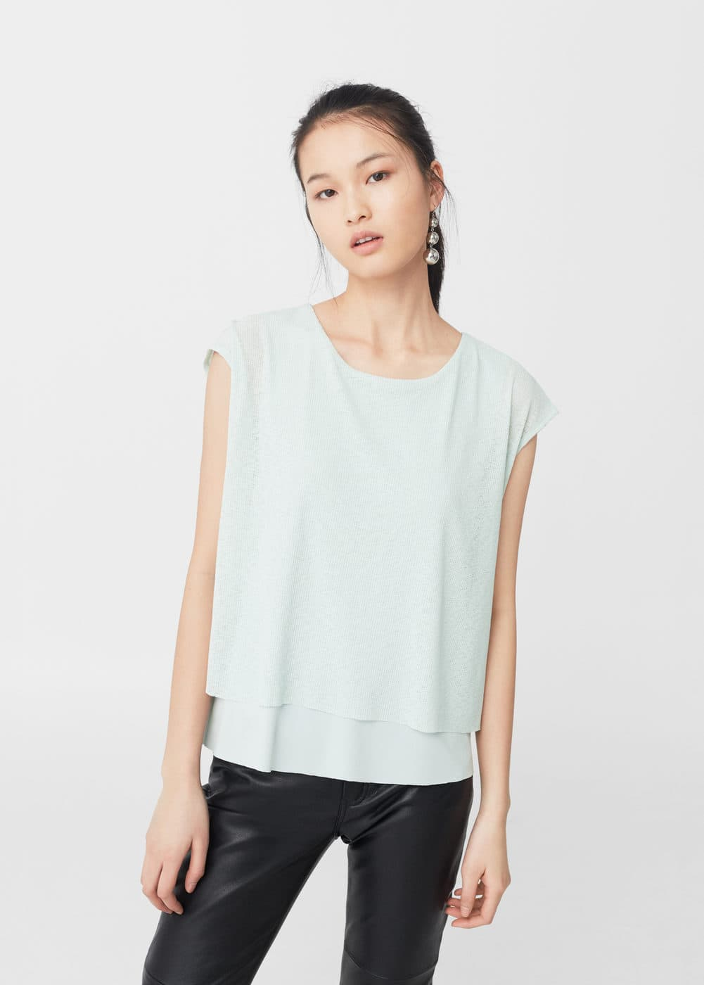 Ribbed t-shirt | MANGO