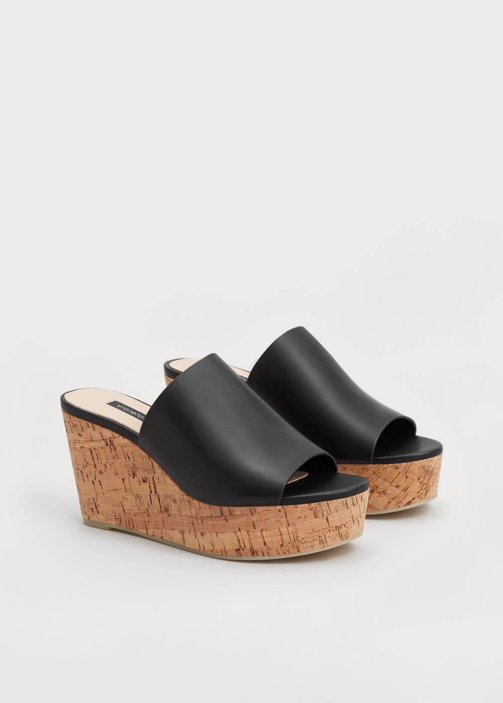 Leather wedge sandals | VIOLETA BY MANGO