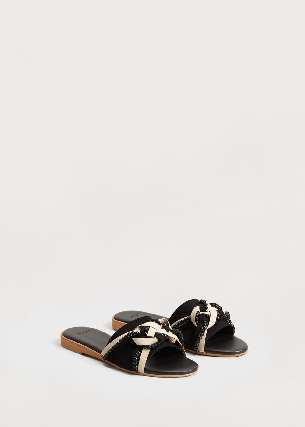 Metal-bead leather sandals | VIOLETA BY MNG