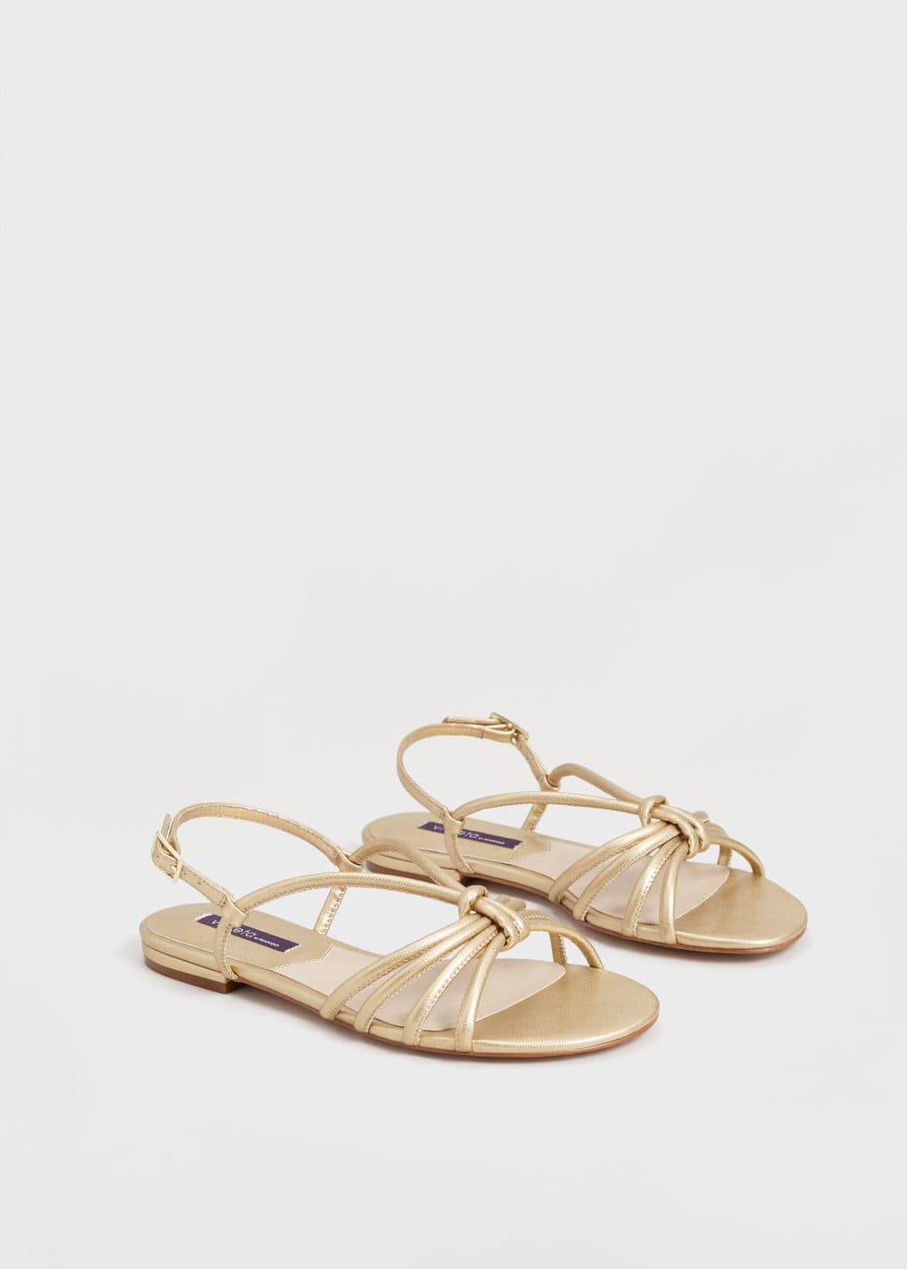 Sandàlies tires metal·litzades | VIOLETA BY MANGO