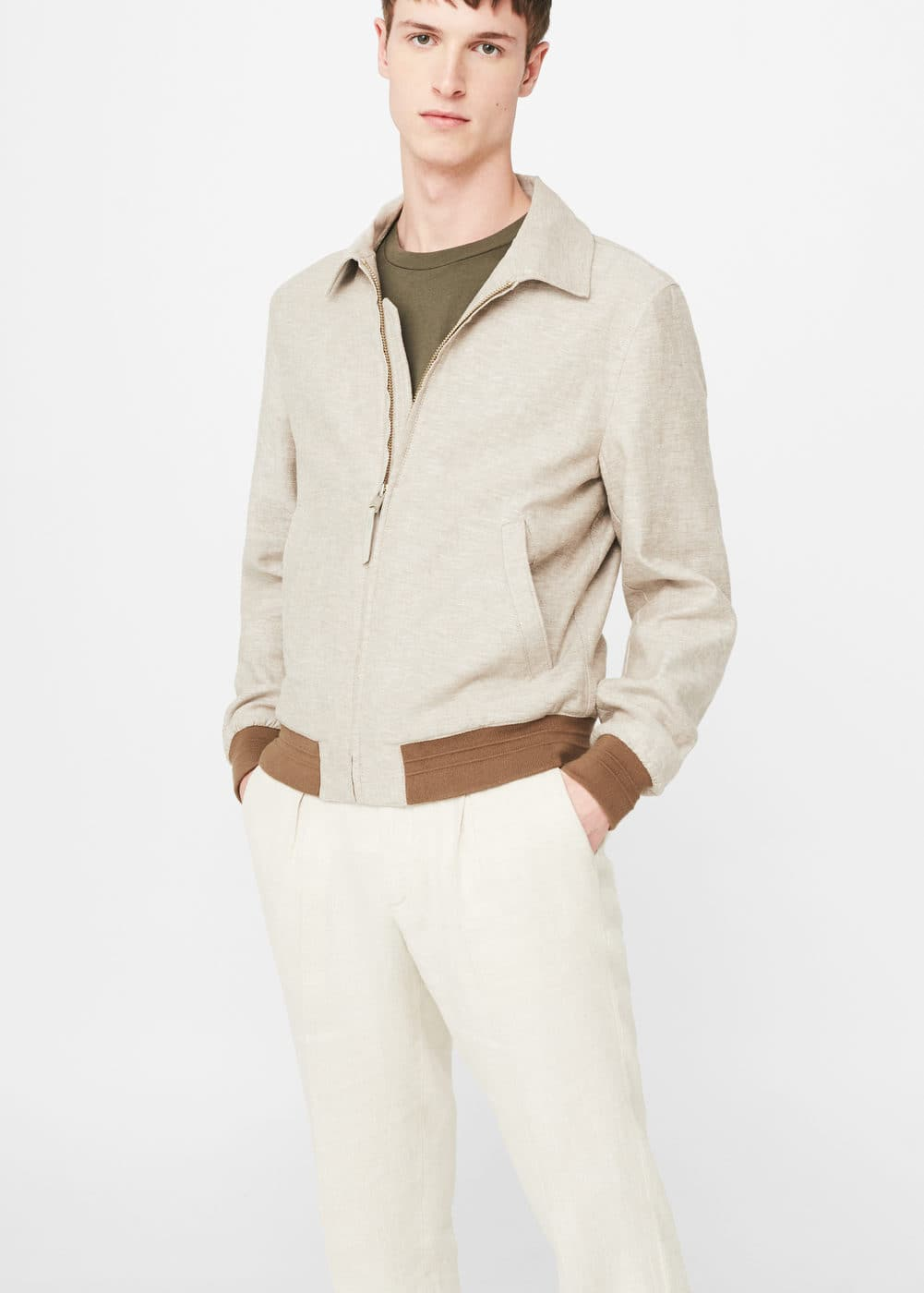 Linen-cotton blend jacket | MANGO